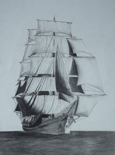 $150 Picton Castle sail ship. Pencil drawing by Elena Whitman. Was inspired by this beautiful barque from Nova Scotia, Canada.