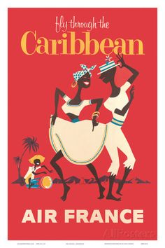 Air France: Fly Through the Caribbean c.1958 Affiche sur AllPosters.fr