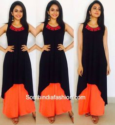 Rakul Preet Singh in Global Desi – Rakul Preet Singh chose a Global Desi outfit to attend one of her promo events of Nannaki Prematho - a black asymmetrical kurti and orange palazzos. Indian Dresses, Indian Outfits, India Fashion, Girl Fashion, Kurtha Designs, Black Kurti, Salwar Designs, Ethnic Looks, Bollywood Girls