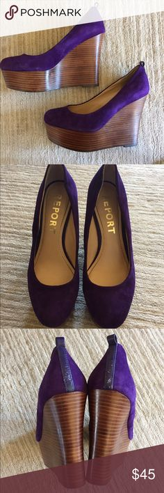 """🚺SALE🚺 Report """"Kim"""" Wedge in Purple Chic platform pump can be dressed down with jeans or up with dresses/skirts. Transition from day to night in these comfortable wedges!  Suede leather upper and liner, synthetic sole 1 1/2 in platform 4 1/2 wedge Great condition, does not include ankle straps, comfortable to wear, and easy to walk in. Report Shoes Wedges"""