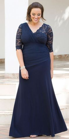 6a17496e4963 24 Plus Size Long Wedding Guest Dresses  with Sleeves