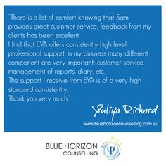 """""""There is a lot of comfort knowing that Sam provides great customer service, feedback from my clients has been excellent. I find that EVA offers consistently high level professional support. In my business many different component are very important: customer service, management of reports diary, etc. I find that support I receive from EVA is of a very high standard consistently. Thank you very much"""""""