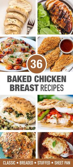 "Baked boneless skinless chicken breast recipes have a reputation as ""diet food"" or even ""boring"", but it doesn't have to be that way. This roundup contains easy chicken recipes for dinner that are full of flavor. Chicken Breast Recipes Healthy, Baked Chicken Breast, Baked Chicken Recipes, Breaded Chicken, Stuffed Chicken, Keto Chicken, Grilled Chicken, Skinless Chicken Recipe, Recipe For Boneless Chicken Breast"