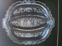 """For sale at Retrophoria.com, $39.99 - Cambridge Wild Flower Etched Glass Twelve & One Half Inch by long by 10 3/4""""W Divided Plate"""