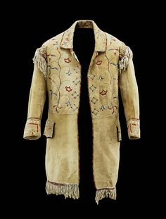 Man's Coat  (Native American)(Native American)    Date      c. 1850  Medium      Buckskin, fabric, porcupine quill
