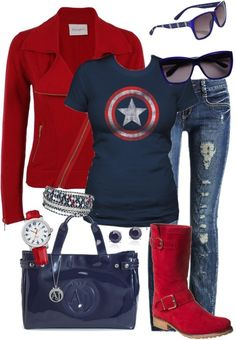 Captain America Outfit (minus the boots, they're awful) Mode Outfits, Casual Outfits, Fashion Outfits, Womens Fashion, Captain America Outfit, Captin America, Looks Style, Style Me, Amarillis