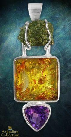 Natural Moldavite, Polished Amber, and Amethyst Amulet