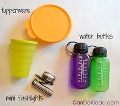 supplies for baby flashlight sensory play activity