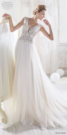 nicole spose 2018 bridal sleeveless v neck heavily embellished bodice romantic soft a line wedding dress chapel train mv -- Nicole 2018 Bridal Collection Princess Wedding Dresses, Bridal Dresses, Wedding Gowns, Most Beautiful Wedding Dresses, Beautiful Gowns, Tulle Ball Gown, Ball Gowns, Essense Of Australia Wedding Dresses, Wedding Dress Gallery