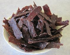 """Ground Beef Jerky Recipe Using a """"Jerky Gun"""" .My grandma used to make ground beef jerky. Real Food Recipes, Snack Recipes, Yummy Food, Game Recipes, Oven Recipes, Tasty, Ground Beef Jerky Recipe, Beef Jerkey, Making Jerky"""