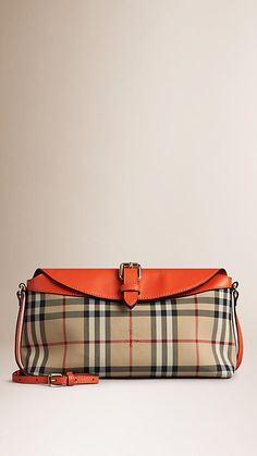 e2b4f895c060 Honey vibrant orange Small Horseferry Check Clutch Bag - Image 1 Clutch  Bag