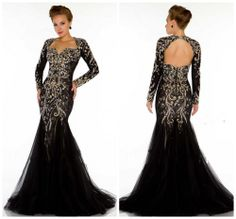 2014 Sexy Black Long Sleeves Tulle Mermaid Evening Dress Open Back Sweetheart Lace Beaded Crystal Backless Prom Gown $189.00