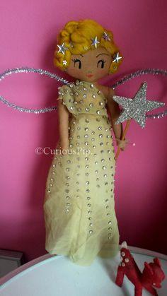 Curious Pip : Nancy Beaton Tree Topper and other Festive Fairies. Pretty Dolls, Cute Dolls, Dolly Mixture, Felt Fairy, Vintage Paper Dolls, Fairy Dolls, Soft Dolls, Doll Crafts, Chiffon