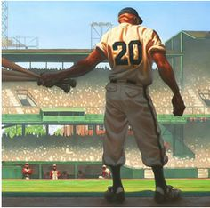 """""""Mighty Josh Gibson"""" by Kadir Nelson! This is probably one of my favorite art prints that feature the famed Negro Baseball League player. Baseball Art, Baseball Players, Baseball Painting, Mlb Players, Baseball Stuff, African American Artist, American Artists, African Art, Kadir Nelson"""