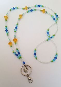 """Beautiful large silver hamsa hand with colbolt blue coloured inset necklace 32/"""""""