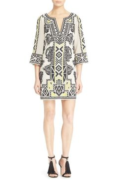 Alice + Olivia 'Lowell' Embroidered Shift Dress