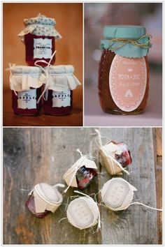 Honey, jam, and jelly favors.