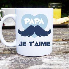 Mug original et personnalisable papa je t'aime, cadeau pour la fête des pères, tasse céramique Mug Papa, Mug Original, I Love My Father, Image Digital, 80th Birthday, Cricut, Boutique, Slogan, Tableware