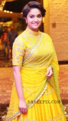 Keerthi Suresh Latest Hot Glamourous Yellow Traditional Saree PhotoShoot Images At Remo Movie Audio Launch actress Keerthi Suresh Indian Actress Gallery, Indian Actress Photos, Indian Actresses, Half Saree Designs, Blouse Designs Silk, Gharara Designs, Hollywood Actress Photos, Saree Photoshoot, Photoshoot Images