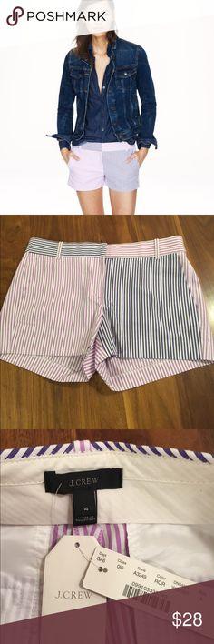 "Colorblock Seersucker Shorts A multicolored palette does seersucker one better. Cotton. Zip fly. 3"" inseam. Lavender/purple. J. Crew Shorts"