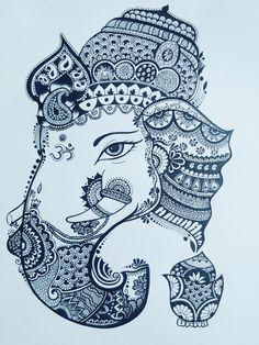 Drawing of Ganesh ji from doodle art Doodle Art Drawing, Mandala Drawing, Lehenga Pattern, Doddle Art, African Art Paintings, Doodle Art Designs, Simple Mandala, Mandala Art Lesson, Ganesha Art