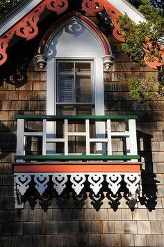 """Doors, windows, balconies of the """"gingerbread houses"""" in Oak Bluffs, Martha's Vineyard Victorian Cottage, Victorian Houses, Beach Cottages, Tiny Cottages, Painted Lady House, Doors Galore, Oak Bluffs, Cottage Porch, Fairytale Cottage"""