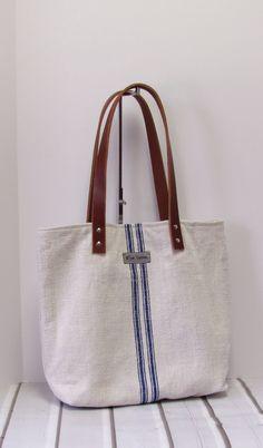2151ec7c1fb6 Grain Sack Tote Bag Blue Stripes Women Teens by LilacBlueDesigns Vászontáska
