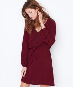 Robe ceinturée, empiècement tulle au dos - Robes - Vêtements - Prêt-à-porter