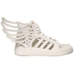 ADIDAS BY JEREMY SCOTT Js Wing 2.0 Cut Out Leather Sneakers - White (570 PEN) ❤ liked on Polyvore featuring shoes, sneakers, footwear, white, white hi tops, white trainers, adidas sneakers, white leather sneakers and white high tops