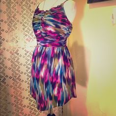 "Beautiful multi-colored dress A beautiful blend of rich colors to make this dress pop like a work of art. Perfect for summer.  Measures 26"" in length in the front. Adjustable strap and stretchy waistband. In excellent condition. Ecote Dresses"