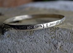 Vintage 925 Sterling Silver Bungle Bracelet Handmade by LKArtChic