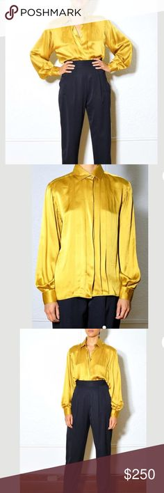 4b9b0a65f41f Vintage Gucci 100% Silk Gold Blouse by Tom Ford Superb vintage from Tom  Ford s very