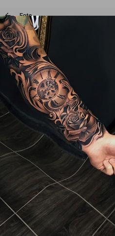 #ArmsTattoo #Bodyarts #Tattoo Tattoo Sleeve Designs, Clock Tattoo Sleeve, Tattoo Clock, Arm Sleeve Tattoos, Full Arm Tattoos, Forearm Tattoos, Hand Tattoos, Tribal Tattoos, Body Art Tattoos