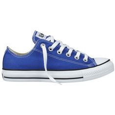 Converse Chuck Taylor All Star Low Sneakers, Blue ($50) ❤ liked on Polyvore featuring shoes, sneakers, converse, women, star sneakers, canvas shoes, flat pump shoes, blue canvas shoes and converse shoes