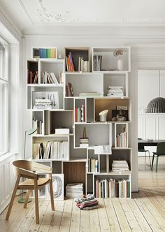 Muuto Stacked Shelf System. Muuto's website tool the Stacked Configurator allows you to create endless combinations until you find the one that fits you. http://www.onlydecolove.com/2014/03/muuto-stacked-shelf-wishlist_2.html?m=1 and http://www.muuto.com/collection/Stacked_shelf_system/