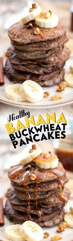 Healthy Banana Buckwheat Pancakes (refined sugar free, low fat, high protein, high fiber, gluten free, vegan) - Healthy Dessert Recipes at Desserts with Benefits
