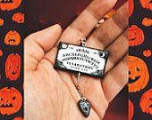 Spiritual Ouija board charm necklace || spooky halloween jewelry