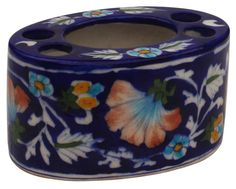 """Hand-Painted Navy-Blue Tooth-Brush / Toothpaste Holder in Ceramic – 5"""" Bathroom Organizers / Accessories from India-Buy in Bulk Wholesale"""
