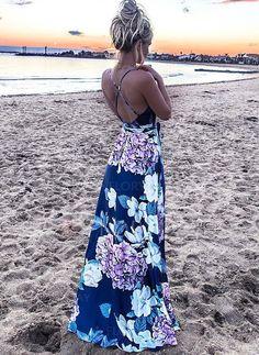 Polyester Floral V-Neckline Boho None Maxi A-line Dress Sleeveless Day Dresses Spring, Summer Spring Dresses, Day Dresses, Dresses For Sale, Blue Dresses, Casual Dresses, Manga Floral, None, Affordable Dresses, Sundresses