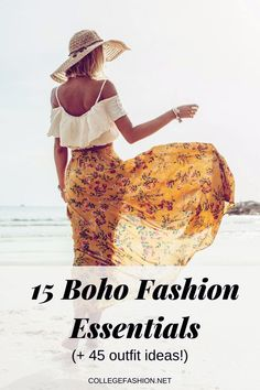 Check out the boho fashion essentials! The top 15 items you must have for that boho aesthetic you are looking for! PLUS 45 outfit ideas for you! Not only do we share these boho outfits that you'll love! We even share the boho jewelry and boho accessories you need! Click to learn more! Latest Fashion Trends, Trendy Fashion, Boho Fashion, Fashion Tips, Boho Outfits, Trendy Outfits, Boho Aesthetic, Boho Accessories, Street Style Trends