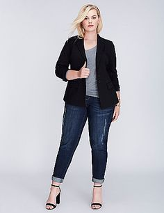 Our flattering ponte fabric has a bit of stretch for a sleek silhouette. It's also very versatile (in other words: this blazer isn't just for the boardroom). Notched lapel. Two front flap pockets. Front faux welted pocket. Double-button front closure. Vented back. Padded shoulder inserts. lanebryant.com