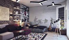 super cool teen boy bedroom ideas modern furniture brick wall floating shelves