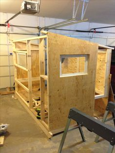 Ice shanty 39 s on pinterest ice fishing ice fishing for Fish house interior designs