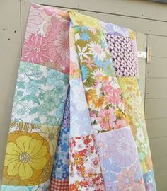 patchwork blanket from old retro bed covers
