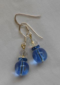 Handmade Earrings Blue Contoured Beads with Rhinestone Spacers and Crystal Beads #Handmade #DropDangle 2014 Sold