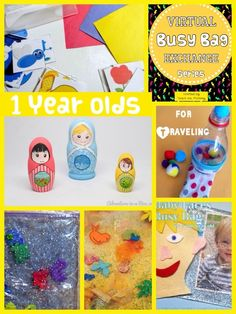 We continue with our Virtual Busy Bag Exchange Series! Here are a few more busy bag ideas for keeping ONE year olds entertained!  Color Sorting Pictures and Toys by Life over C's How to make Matryoshka Nesting Dolls by Adventure in a Box Baby Faces Busy Bag by Kitchen Floor Crafts Fine Motor Pompom …
