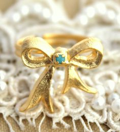 Gold bow adjustable Turquoise ring - 14k plated matte gold adjustable ring