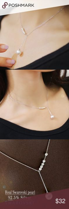 Silver y-line pearl necklace Asymmetrical silver pearl necklace. 41cm/16 in in length. Swarovski pearls. 92.5% silver. Very pretty! Jewelry Necklaces