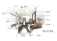 croquis architecte d'intérieur - Réalisation Dominique JEAN pour EDECO Rénovation- salle de bain bicolore, carrelage doré, niches encastrées.