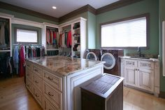 Hardwood Floors, Washer Dryer In Master Closet, Hanging Rack, Custom Closet, And Laundry Room - Traditional Closet By Walker Woodworking Laundry Closet, Laundry Room Storage, Walk In Closet, Storage Closets, Laundry Rooms, Closet Shelves, Mud Rooms, Closet Space, Family Closet